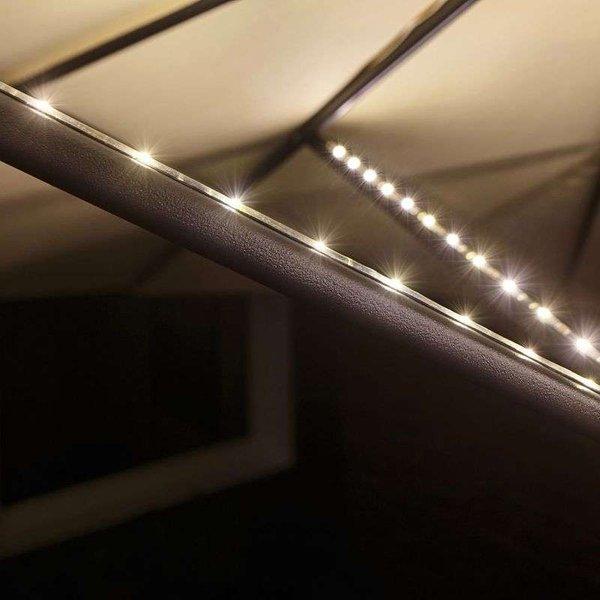 Eclairage de parasol sans fil jeu de 4 1.8 W blanc chaud Paulmann Parasol 94208 noir