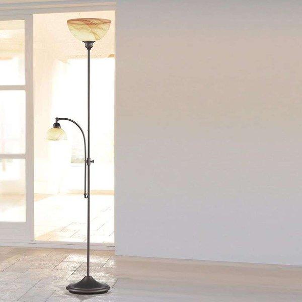 Lampe sur pied E10 WOFI LACCHINO 120 W avec interrupteur, intensité variable marron