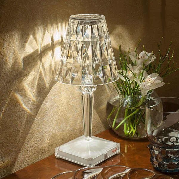 Decorative LED table lamp Battery IP54 transparent