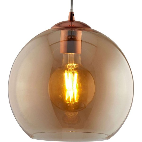 Balls hanging light with amber glass sphere 30cm