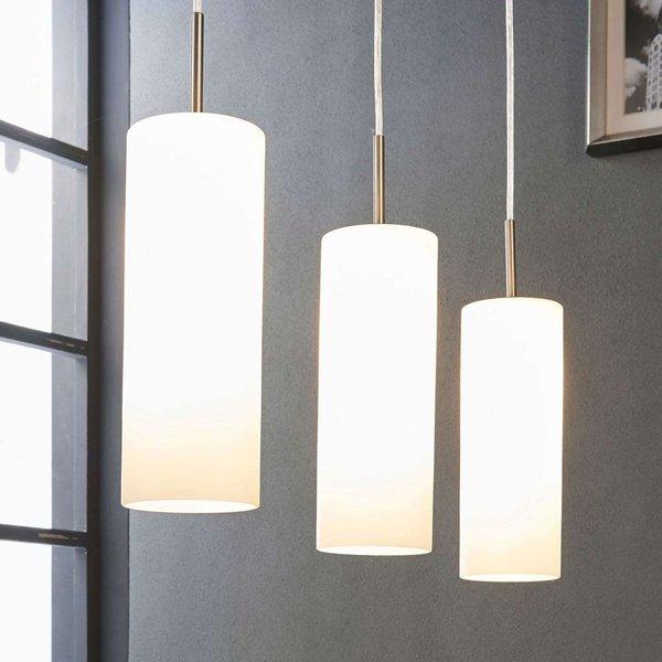 Suspension à 3 lampes Vinsta en verre blanc