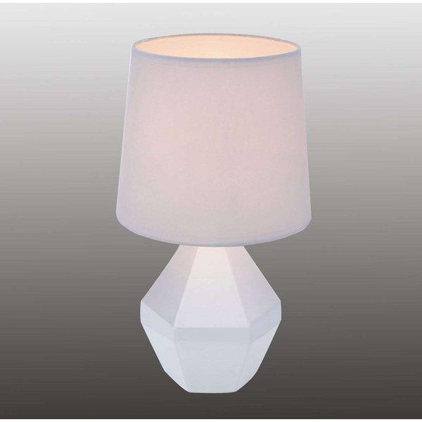 Ruby - weiße Tischleuchte mit eckigem Keramikfuß