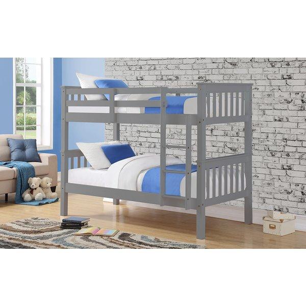Casper Wooden Bunk Bed, Single, Grey