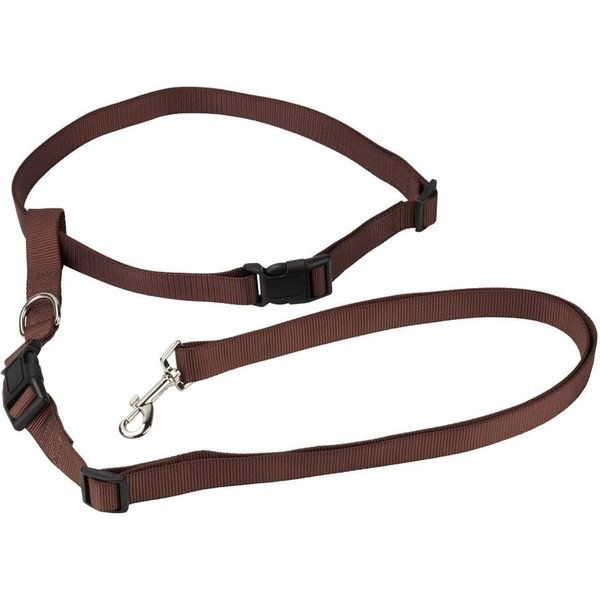 Hands Free Dog Running Waist Belt Lead Brown/Medium
