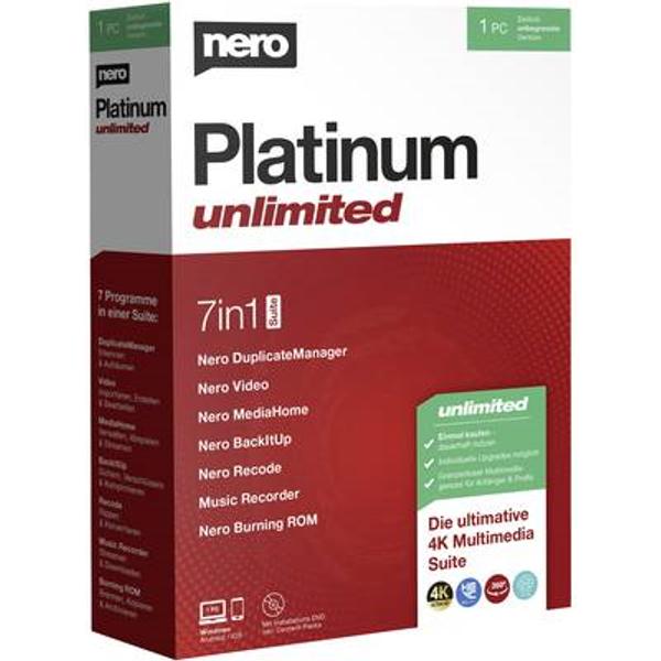 Logiciel de gravure Nero Platinum Unlimited version complète, 1 licence Windows