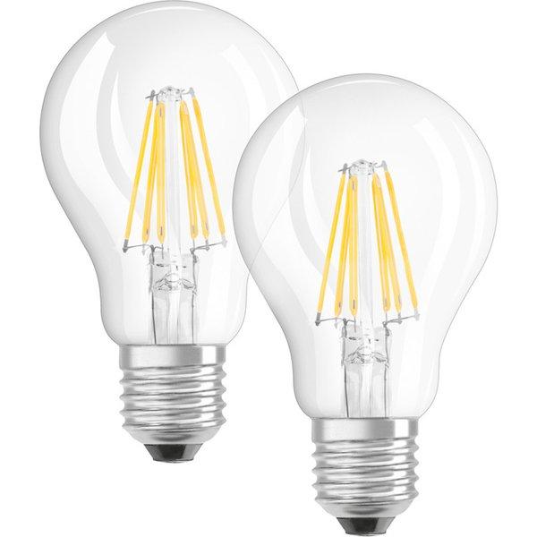 E27 7W 827 filament LED bulb, set of two