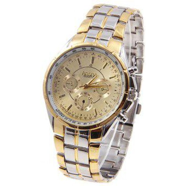 6. Rosra Men's Watches with Quartz Analog Round Shaped Dial Steel Watchband in New Design, Golden: £5.46, DressLily