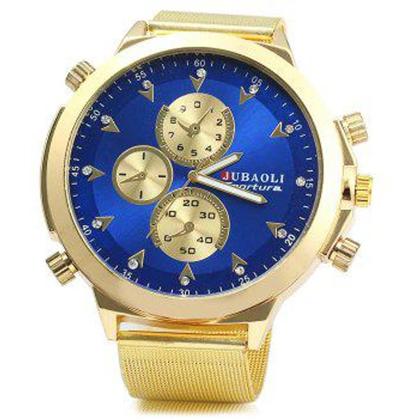 1. Jubaoli Diamond Quartz Watch with Steel Net Strap for Men, GOLDEN - STEEL BAND: £8.47, DressLily