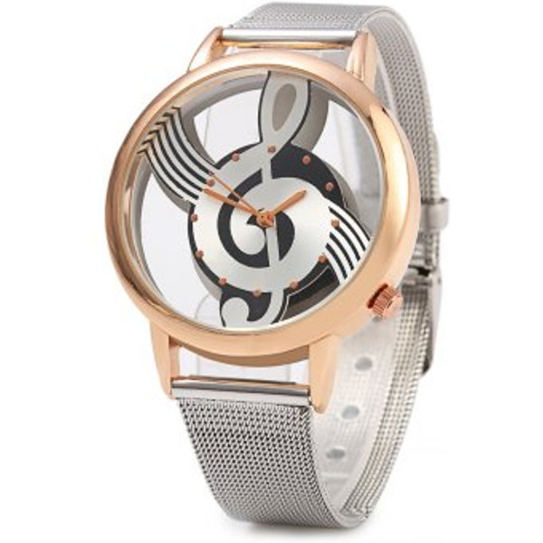 4. 9687 Musical Note Design Transparent Dial Quartz Watch Steel Net Strap for Men, Rose Gold: £5.73, DressLily
