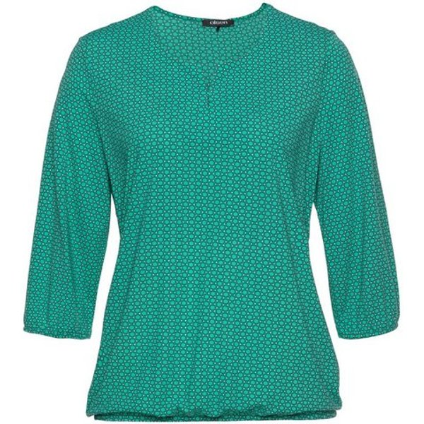 Olsen Rundhalsshirt mit Allover-Print und elastischem Saum