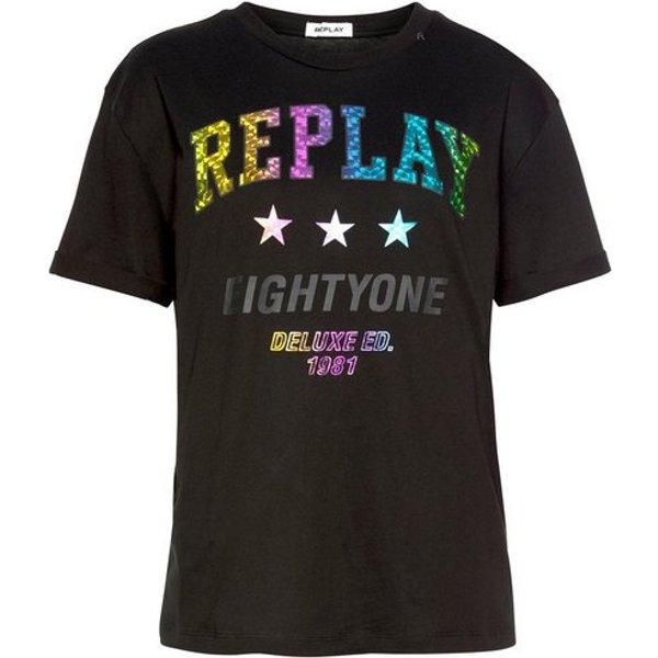 Replay T-Shirt mit Logoprint in Metallic-Optik