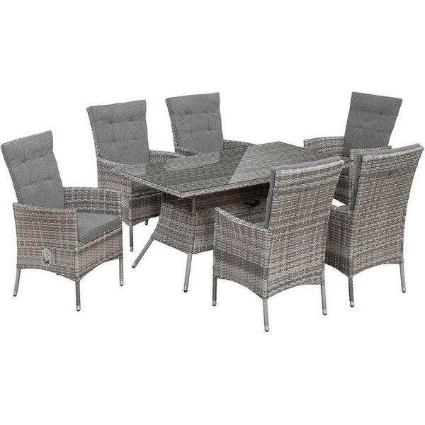 KONIFERA Gartenmöbelset »Belluno«, 13-tlg., 6 Sessel, Tisch 150x 80 cm, Polyrattan