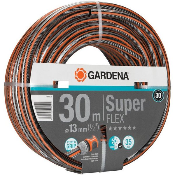 "Gardena SuperFlex Premium Hose Pipe 1/2"" / 12.5mm 30m Black / Orange"