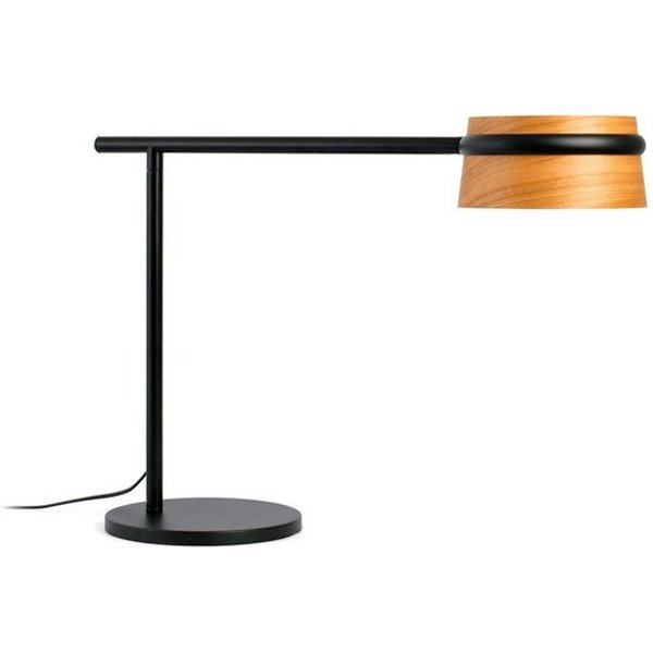 Dimmable Loop LED table lamp with wooden lampshade
