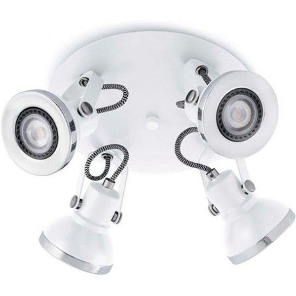 Four-bulb Ring LED ceiling spotlight in white