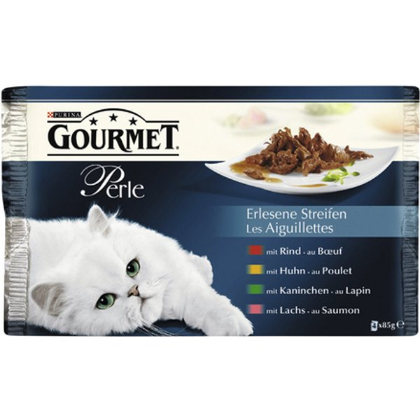 Gourmet Perle Meat & Salmon Flavoured Cat Food in Sauce 4x85g