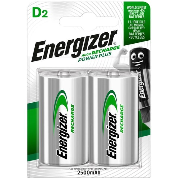 Energizer D Cell Rechargeable Batteries Pack of 2
