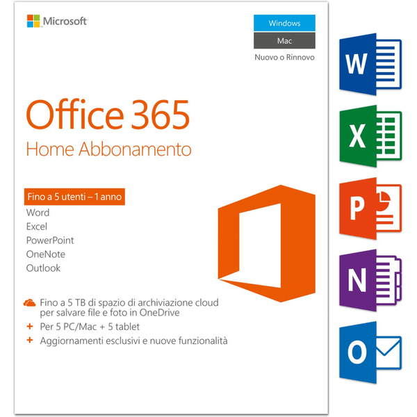 Microsoft Office 365 Home 2016 PC/Mac (I) Physisch (Box)