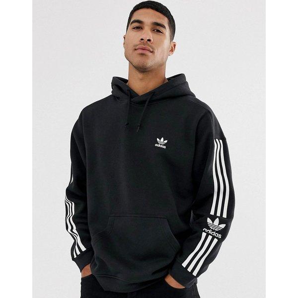 adidas Originals hoodie with 3-Stripe lock up logo in black