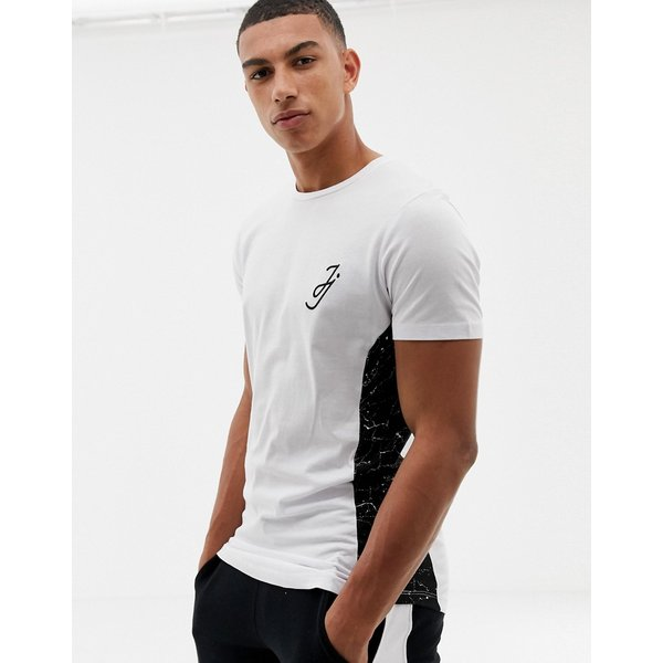 Jack & Jones Core t-shirt with side panel print in curved hem-White