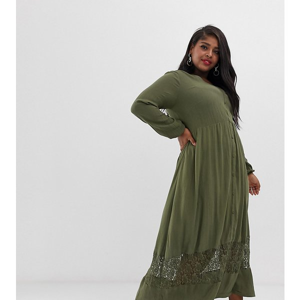 Junarose textured maxi dress with lace detail-Green