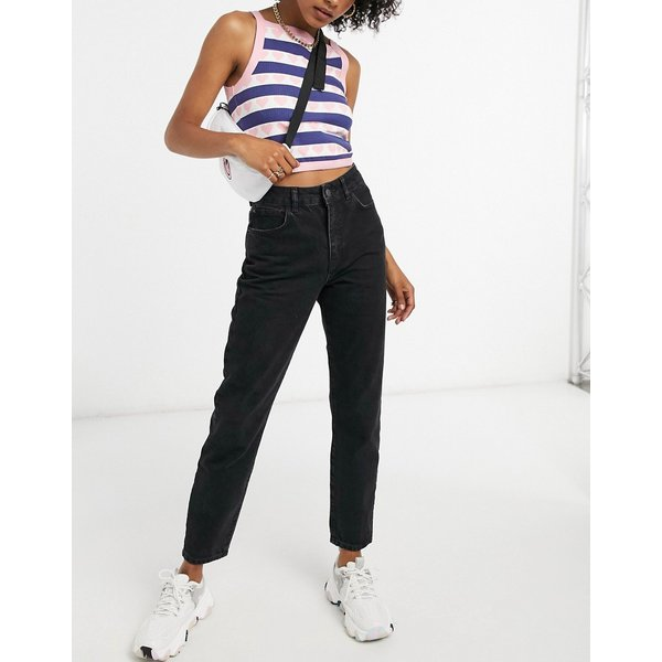 Noisy May Premium mom jeans with high waist in black