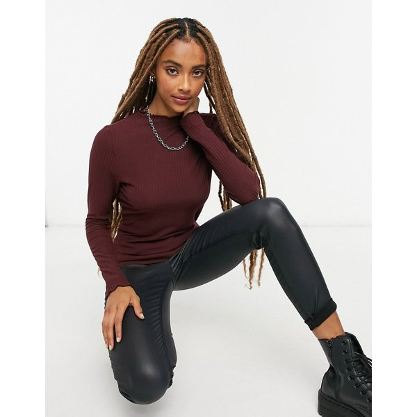 ONLY High Neck Long Sleeved Top Women Brown