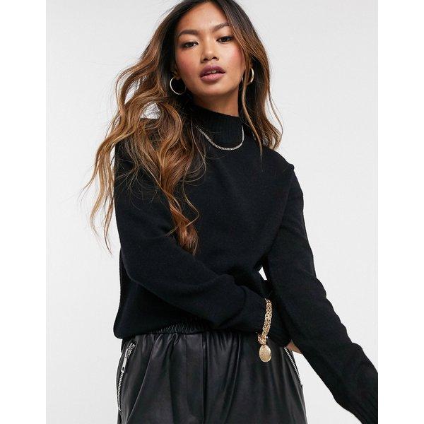 Vila high neck knitted jumper in black