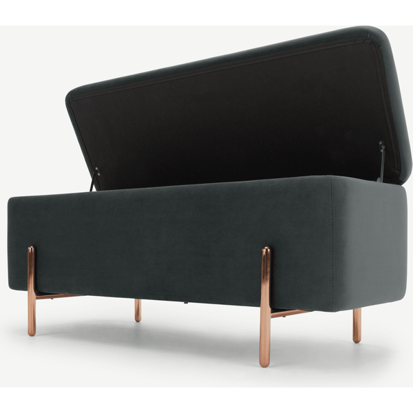 Asare 110cm Upholstered Ottoman Storage Bench, Midnight Grey Velvet and Copper