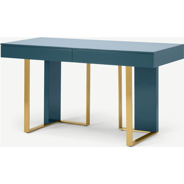 Arpen Desk, Teal and Brass