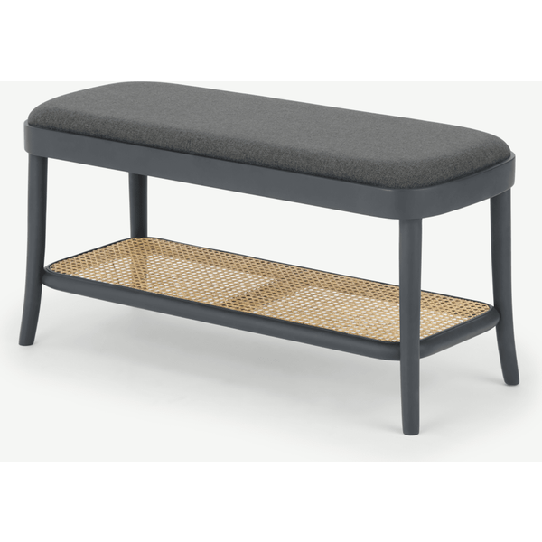 Raleigh Storage Bench, Rattan and Charcoal