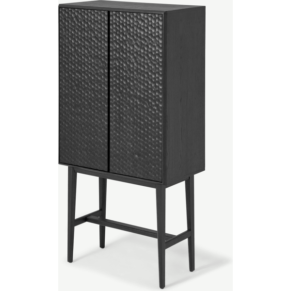 Abbon Tall Storage Cabinet, Textured Charcoal Washed Oak