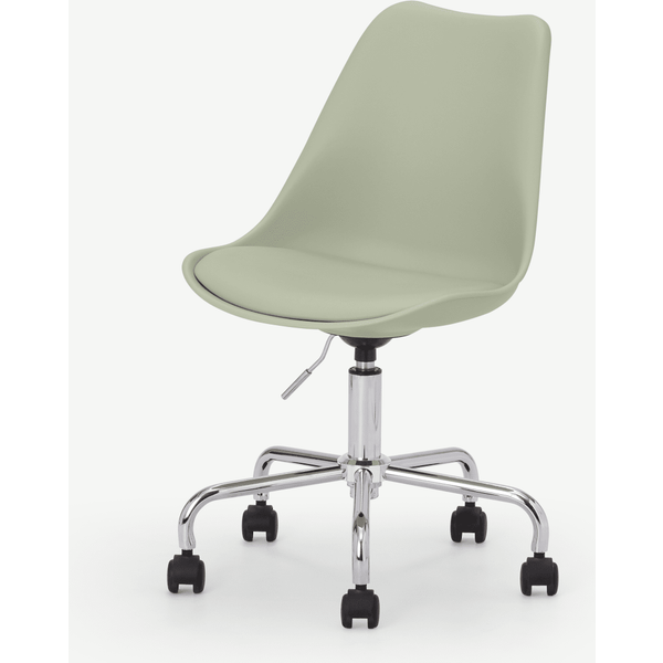 Deon Office Chair, Sage Green with Chrome Legs