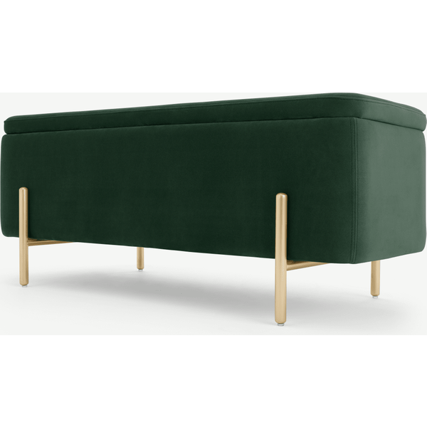 Asare 110cm Upholstered Ottoman Storage Bench, Pine Green and Brass