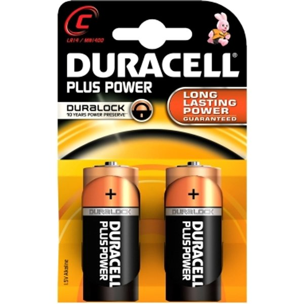 Duracell Plus Power C LR14 Alkaline Battery (2 Pack)