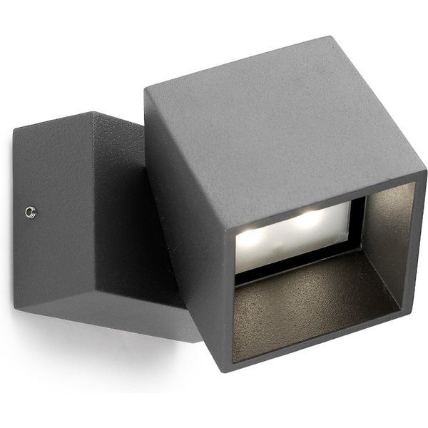 Anthracite-coloured LED outdoor wall light Cubus