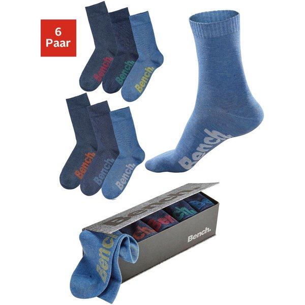 Bench. Socken (6 Paar) mit verschiedenfarbigen Logos