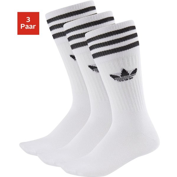 adidas Originals 3 pack solid crew socks in white