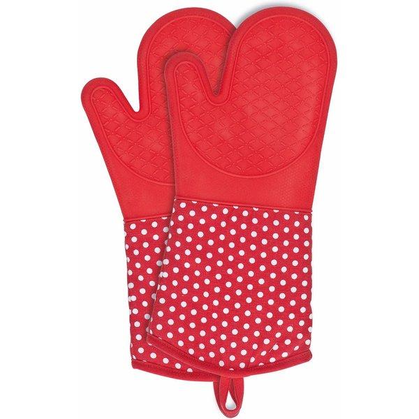 WENKO Topfhandschuhe Silikon Rot, 1 Paar rot/weiß