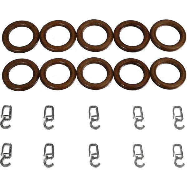 Gardinenringe für Gardinenstangen ø 28 mm Farbe:eiche rustikal
