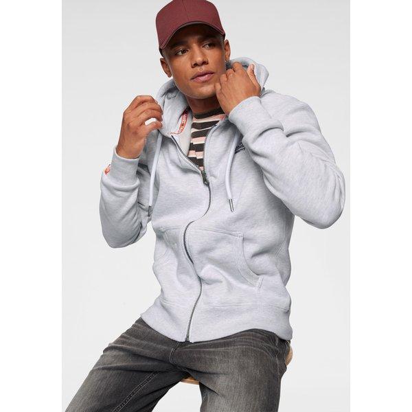 Superdry Orange Label Zip Hoodie men's Sweatshirt in Grey