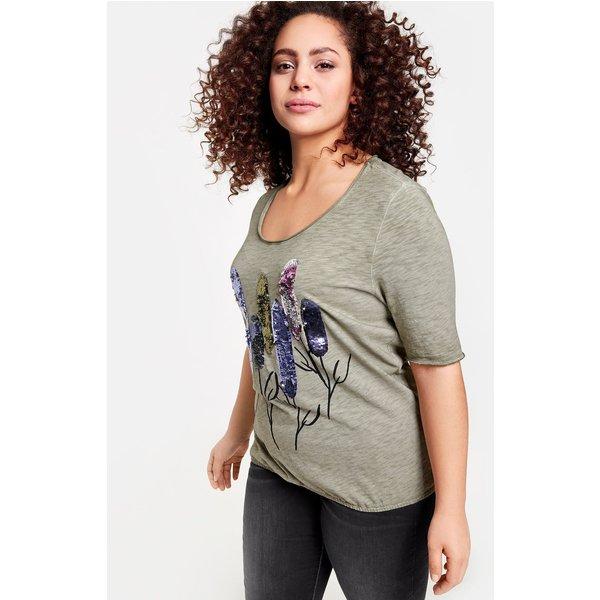 Samoon T-Shirt Kurzarm Rundhals »Shirt mit Wendepailletten«