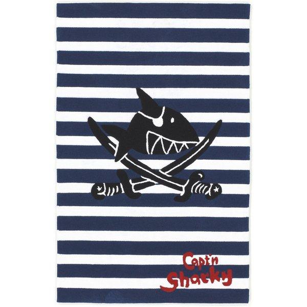 Kinderteppich Capt'n Sharky, blau gestreift, 70 x 140 cm blau-kombi