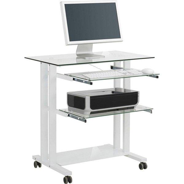 Computertisch Marne, ca. 80x84x51 cm, weiß/Glas