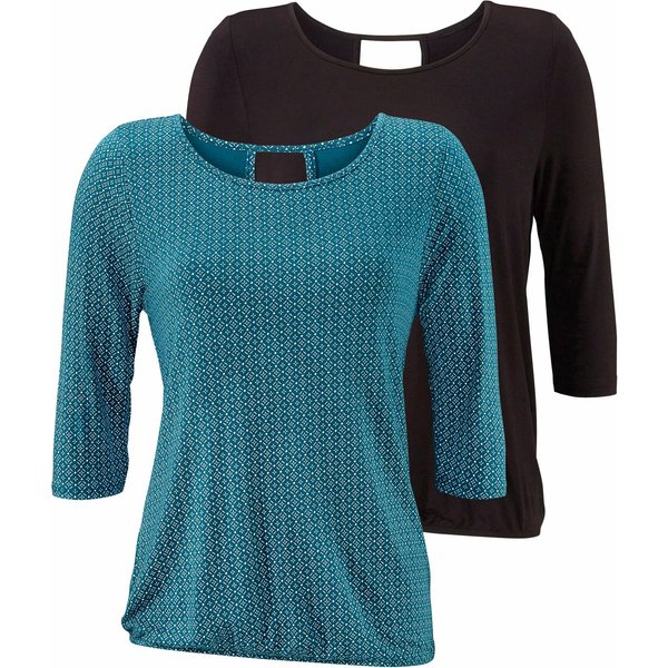LASCANA 3/4-Arm-Shirt (2er-Pack) mit modischem Cut-out im Nacken