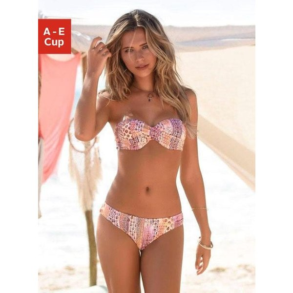 LASCANA Bügel-Bandeau-Bikini in Patchwork-Optik