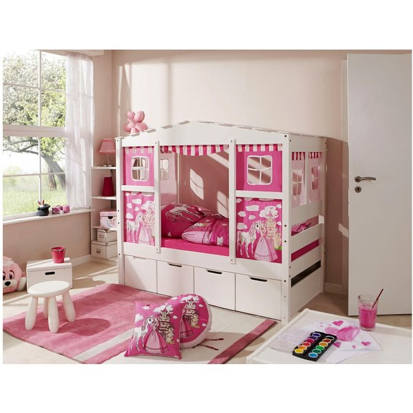 Ticaa Kinderbett in Hausoptik Lio aus massiver Kiefer Liegefläche 80x160 cm