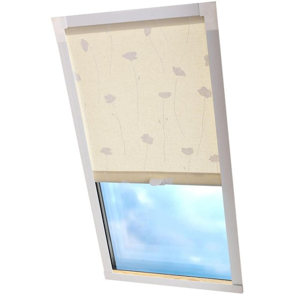 Dachfensterrollo Dekor Liedeco Lichtschutz in Führungsschienen