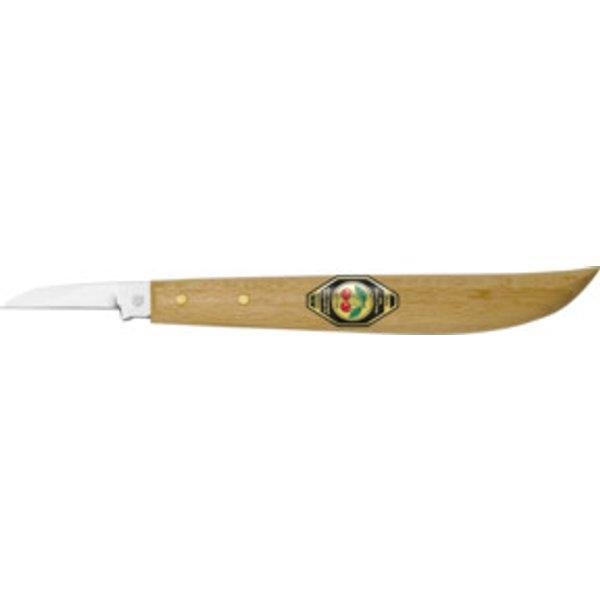 Kirschen Kerbschnitzmesser mit Holzheft mit rundem Rücken, gerader Schneide