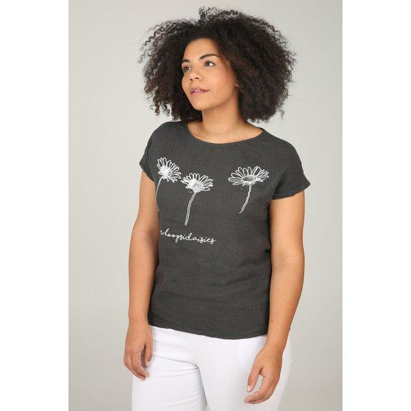 Paprika Print-Shirt T-Shirt aus Material-Mix mit Blumen-Print